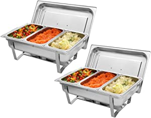 KAAYEE Stainless Steel Chafing Dish Three Grid Set 2 Pack of 9 QT Rectangular Buffet Stove, 1/3 Size Food Pan and Lid For Buffet Weddings Kitchen Party Dining