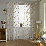 "SHZONS White Printed Flower Lace Tulle Sheer Window Treatments Door Screen Curtain 39.37""x 78.74"""