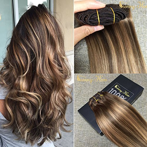 Sunny 16inch Clip in Extensions Remy Hair Full Head Dark Brown Highlight with Caramel Blonde Balayage Clip in Hair Extensions 7pcs 120gram