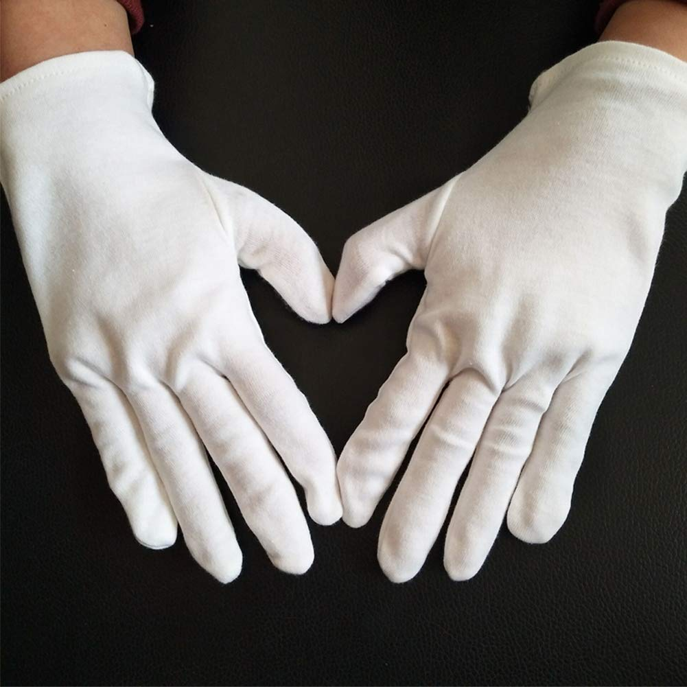 6 Pairs (12 Gloves) Small Size Gloves Legend White Coin Moisturizing Jewelry Silver Inspection Cotton Lisle Gloves Kids Helper