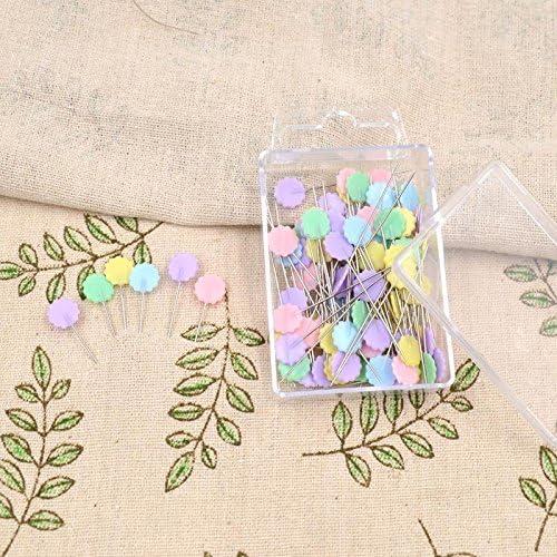 XZANTE 100 unids//Bolsa Pines Colores Mezclados Coser Patchwork Pines Cabeza de la Flor Pines Herramienta de Costura Aguja Accesorios de Costura de Arte Botones
