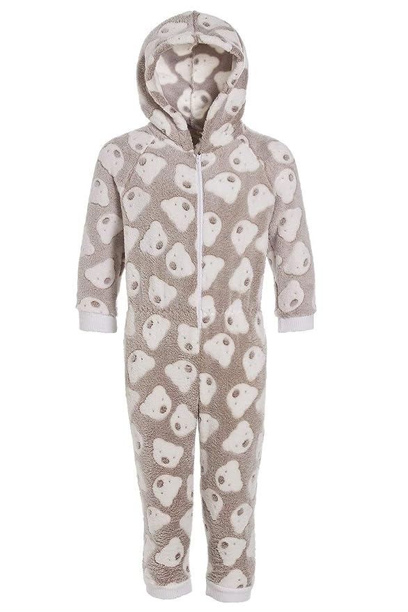 Camille - Pijama Infantil de una Pieza con Capucha - Forro Polar Supersuave - Estampado de Ositos - Color visón 9-11 YRS: Amazon.es: Ropa y accesorios