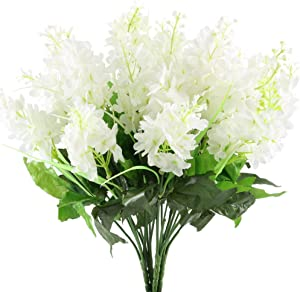GTidea 4pcs Artificial Wisteria Bundle Fake Flowers Silk Floral Bouquet Arrangements Home Garden Fences Restrant Hotel Parties Wedding Simulation Decor in White