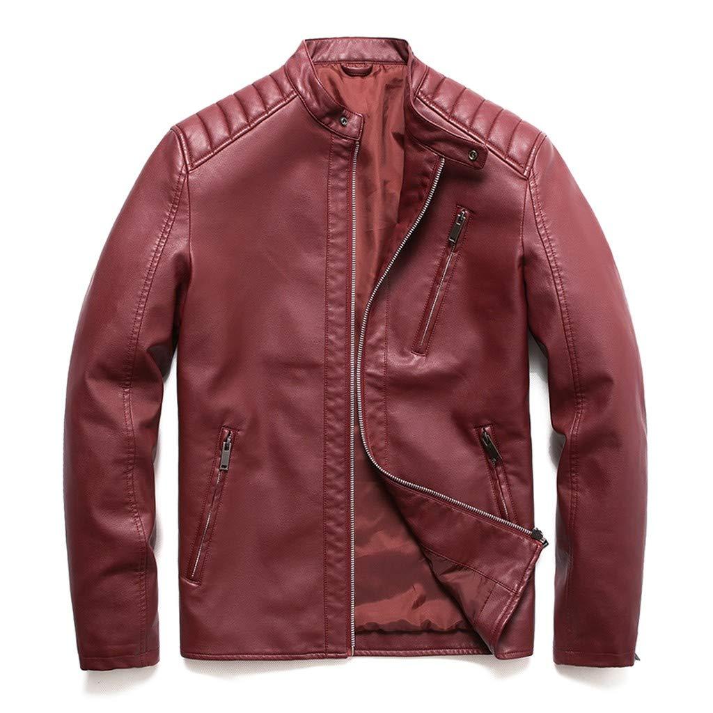 kemilove Men Leather Jacket Autumn&Winter Biker Motorcycle Zipper Casual Outwear Coat Red