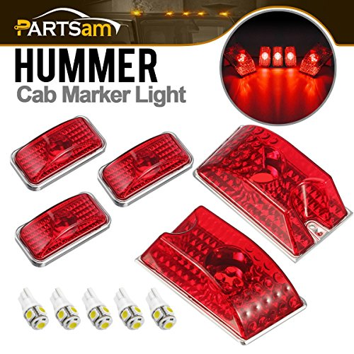 Partsam 5PCS 264160R Red Lens Cab Marker Top Roof Running Lights + 5PCS White 5050 194 168 W5W T10 LED Bulbs Compatible with Hummer H2 SUV SUT 2003 2004 2005 2006 2007 2008 2009 ()