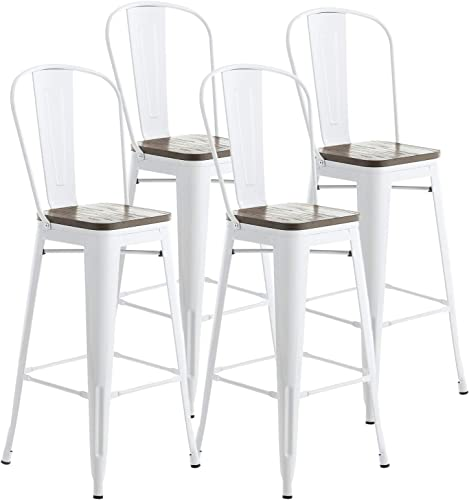 Mecor Metal Bar Stools Set of 4 w Removable Backrest, 30 Dining Counter Height Chairs with Wood Seat White