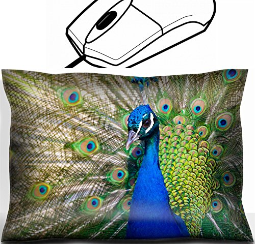 MSD Mouse Wrist Rest Office Decor Wrist Supporter Pillow design 22635999 Colorful Blue Ribbon Peacock in full feather color saturated]()