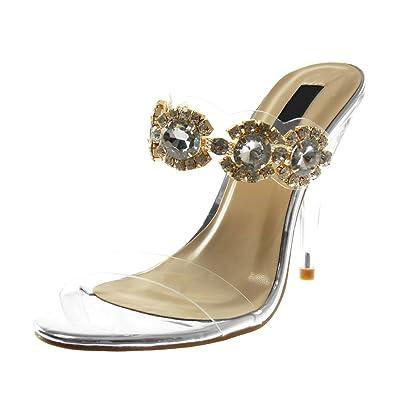Angkorly Damen Schuhe Sandalen Pumpe - Slip-On - Transparent - Schmuck - Strass Trichterabsatz High Heel 15 cm