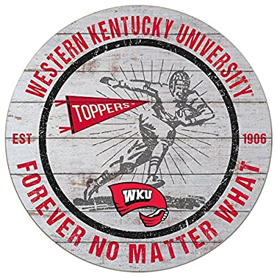 "KH Sports Fan 20""x 20"" Western Kentucky Hilltoppers Throwback Weathered Circle Sign"