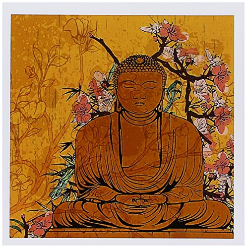 3dRose Buddha Statue with Lovely Pink Japanese Sakura Blossom Flowers Asian Inspired Gifts Greeting Cards, Set of 6 (gc_116366_1)