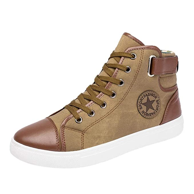 22b71e8157b44 DENER Men Mid Top Sneakers Shoes,Canvas Flat Heels Lace up Round Toe Slip  on Wide Width Comfortable Casual Oxford Shoes