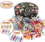 #10: Sewing clips,Quilting Supplies Pack of 160 Multipurpose Quilting Clips with Premium Storage Tin Box Assorted Colors