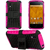 Flip Kick Stand Hard Dual Armor Hybrid Bumper Back Case Cover For LG Google Nexus 4 E960 - Pink