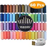 Paxcoo 60 Assorted Color Polyester Sewing Thread Spools 250 Yards Each with Sewing Needles and Soft Measuring Tapes