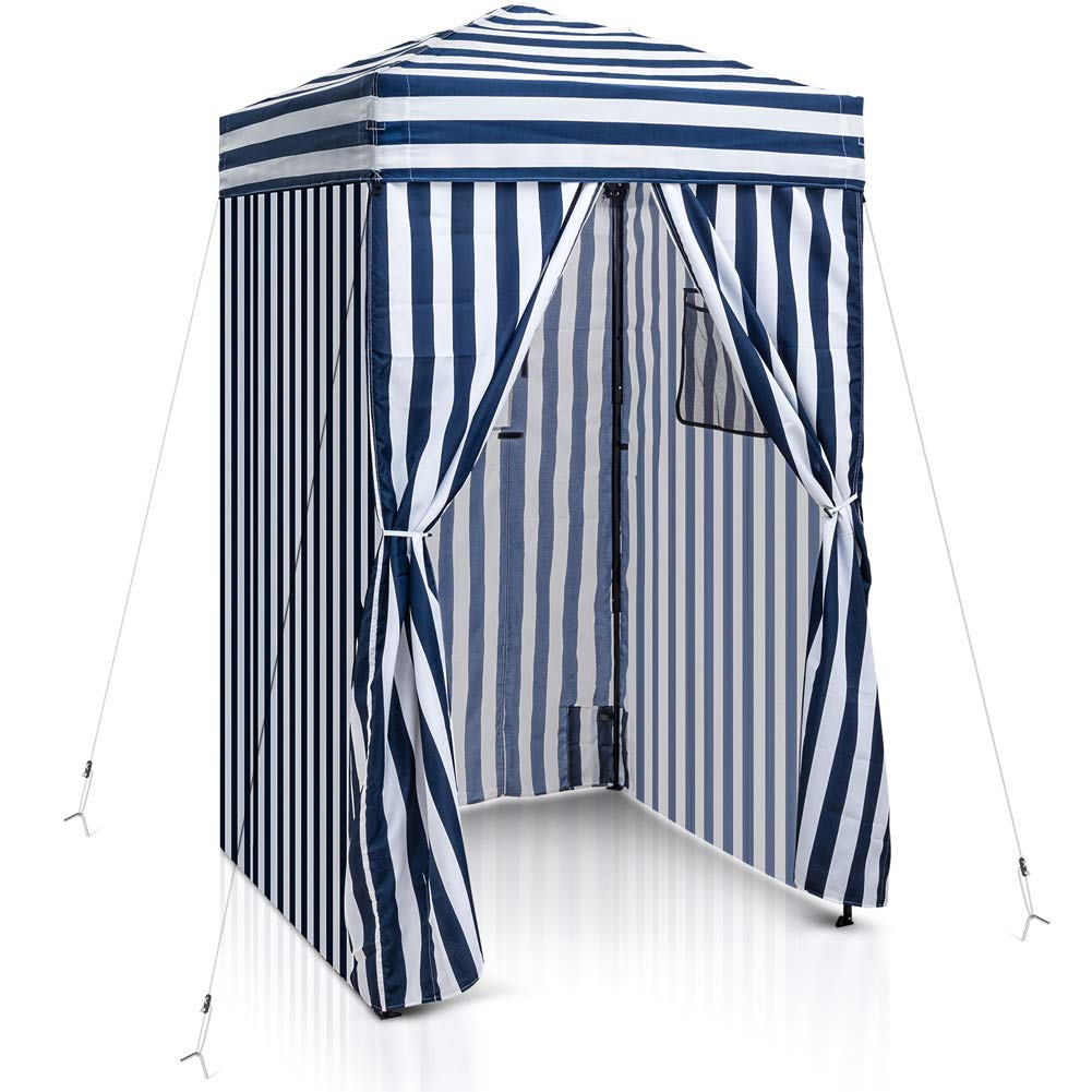 EAGLE PEAK Flex Ultra Compact 4'x4' Pop-up Changing Room Canopy, Portable Privacy Cabana for Pool, Fashion Photoshoots, or Camping, Navy Blue/White by EAGLE PEAK