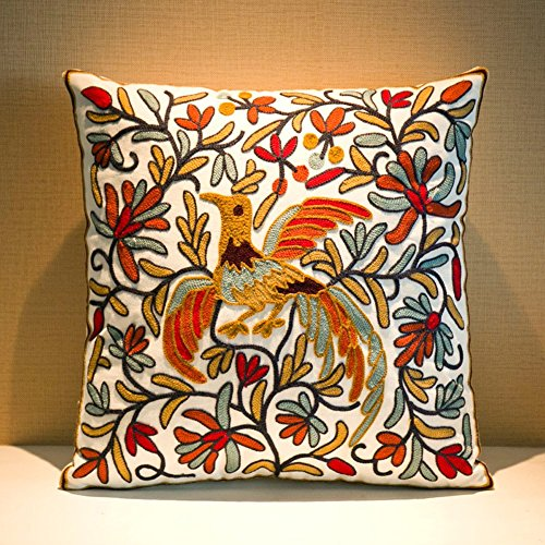 "MeMoreCool Bohemia Exotic Style Pillow Sham Exquisite Stereoscopic Embroidered Cotton Throw Pillow Cover Indian Decor Sofa Cushion Cover Pillow Case 18""x18"""