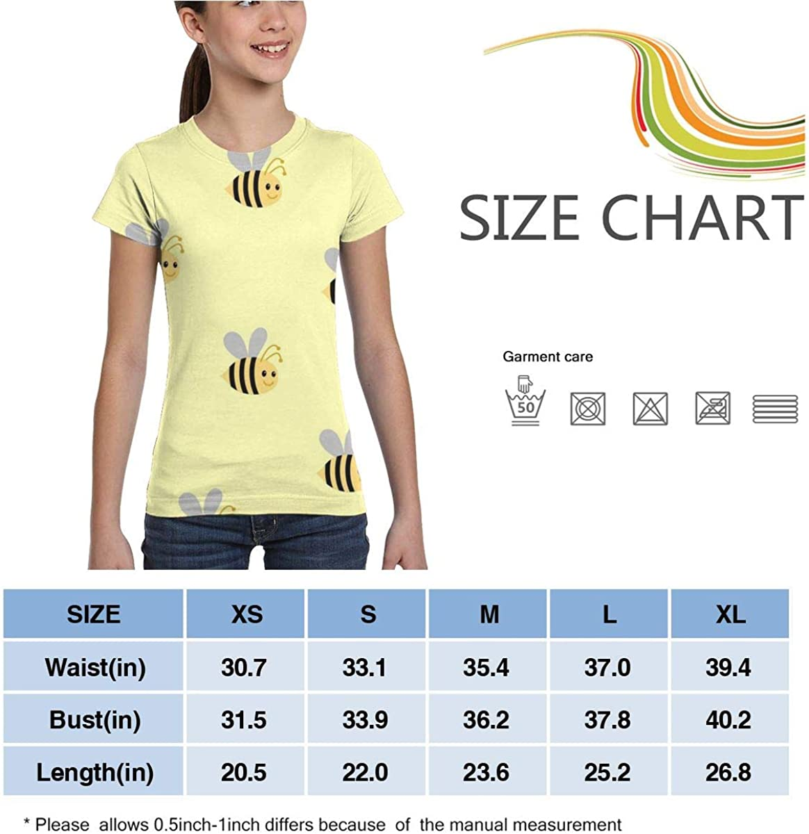 Girls Casual Loose Short Sleeve Cute Bee Fashion Round Neck Tops Tee Shirts