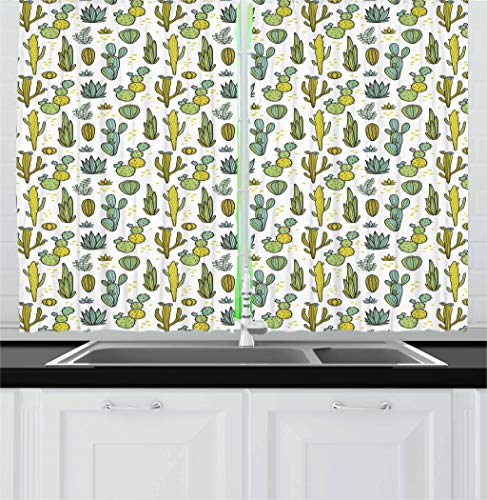 Ambesonne Cactus Kitchen Curtains, Hand Draw Foliage Pattern Botanical Inspired Floral Tropical Elements, Window Drapes 2 Panel Set for Kitchen Cafe, 55 W X 39 L Inches, Yellow Green Reseda Green