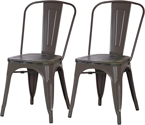 Asense Distressed Paint Tolix Style Steel Dining Chair