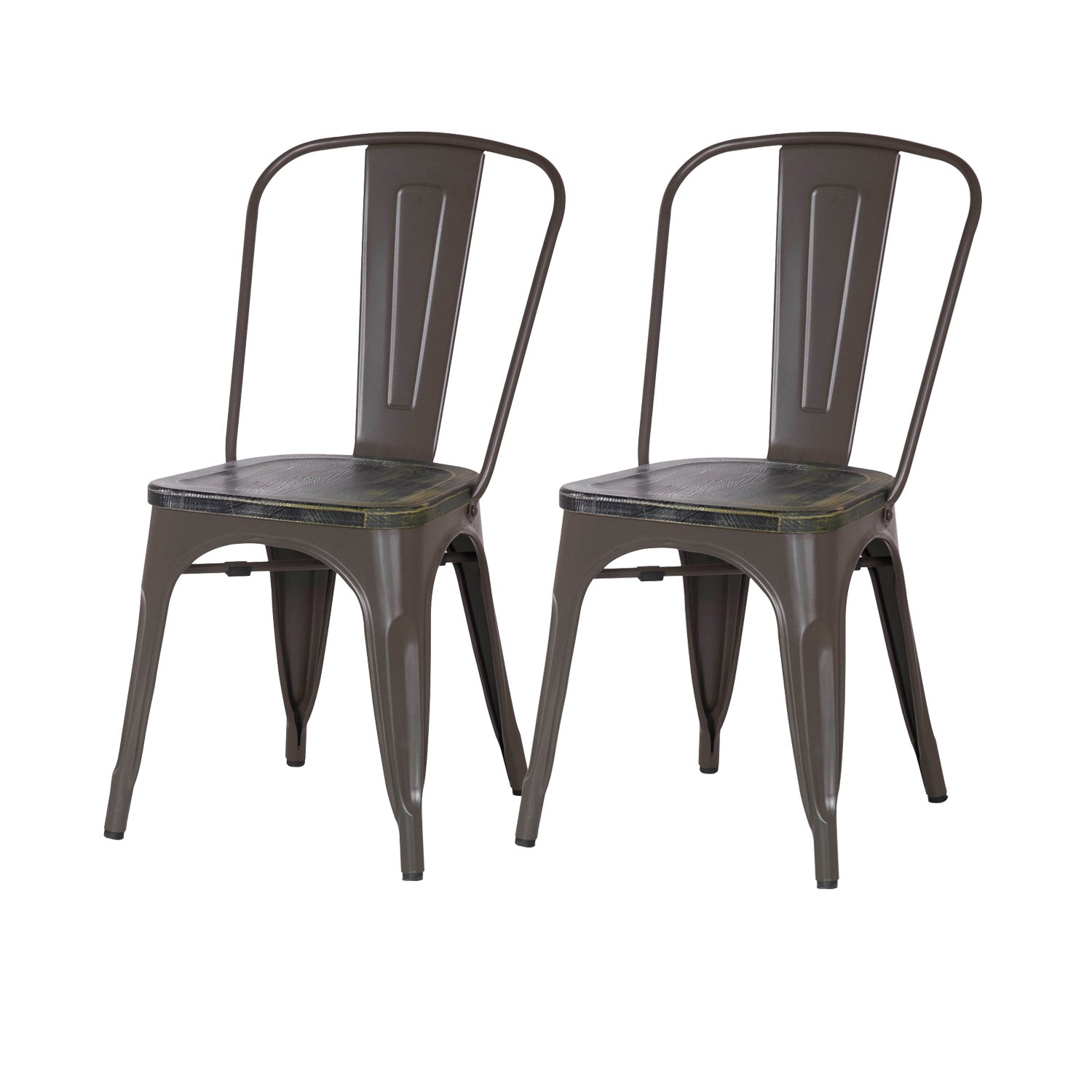 Asense Distressed Paint Tolix Style Steel Dining Chair with Wooden Seat 33 Inch Height, A Set of Two Frosted Coffee