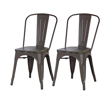 Delicieux Asensefurniture Inc Asense Distressed Paint Tolix Style Steel Dining Chair  With Wooden Seat 33 Inch Height