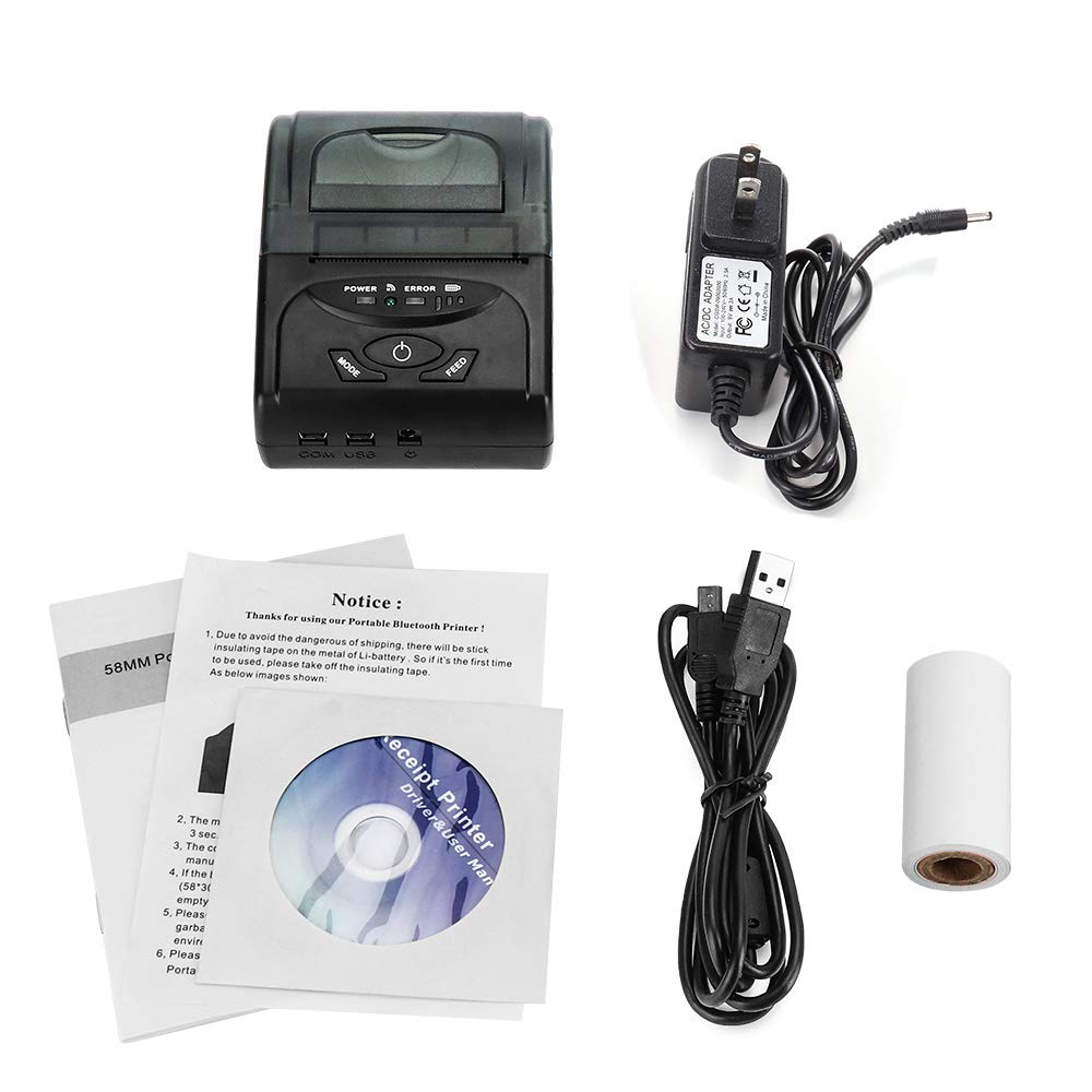 58MM Thermal Receipt Printer Bluetooth Wireless Mobile Printer Comptiable  with PC Android Loyverse 58MM USB Thermal Printer ESC/POS/Star Print