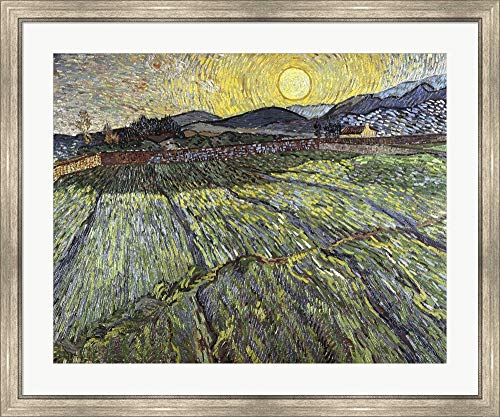 Enclosed Field with Rising Sun, 1889 by Vincent Van Gogh Framed Art Print Wall Picture, Silver Scoop Frame, 40 x 33 ()