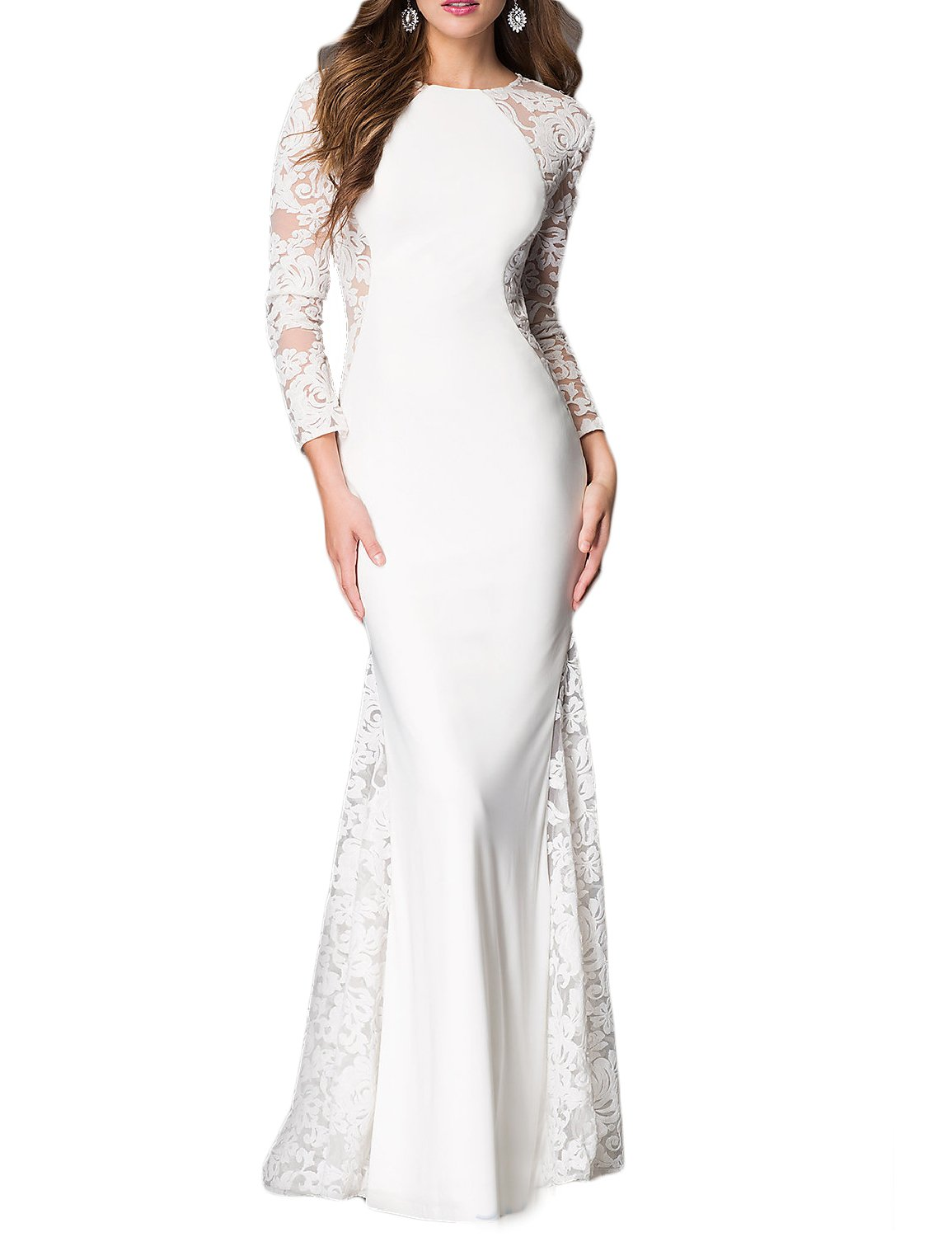 YSMei Women's Long Mermaid Lace Evening Celebrity Dress with sleeves Prom Pageant Formal Gowns White 20W