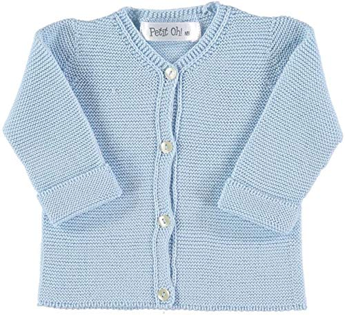 Petit Oh! - Chaqueta de Punto para bebé algodón 100% Talla 3-6 Meses Color Celeste