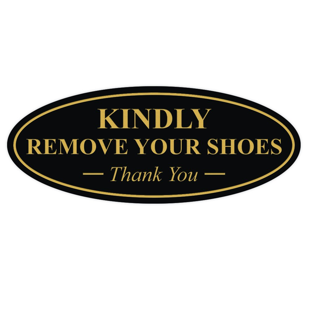 Lt Gray Large All Quality Oval Kindly Remove Your Shoes Thank You Sign