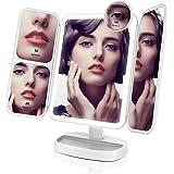 Easehold 卓上ミラー 折りたたみ式 三面鏡 化粧鏡 2&3&10倍拡大鏡付き LEDライト 角度調整機能付 タッチパネル 持ち運び便利 電池またはUSB給電(ホワイト)