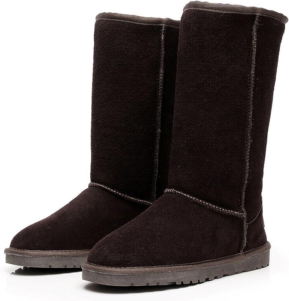 Shenn Donna Slip On invernale basso ginocchio caldo ad alta pelle scamosciata Neve Stivali Cioccolato