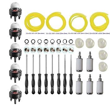 ouyfilters carburador ajuste ajuste kit de herramientas de destornillador de ajuste (con punta filtro de combustible línea primer bombilla para 2 ...