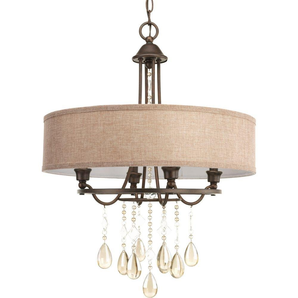 Flourish Collection 4-Light Cognac Bronze Chandelier by Progress