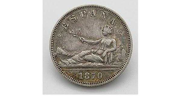 Desconocido Moneda de 2 Pesetas del Año 1870. Moneda de Plata ...