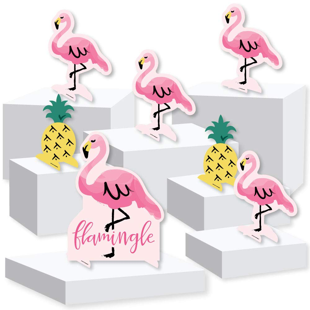 Pink Flamingo - Party Like a Pineapple - Tropical Summer Party Centerpiece and Buffet Table Decor - Tabletop Standups - Set of 7