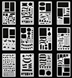 #5: Bullet Journal Stencil,GEOTEL Easy Placement Light Ultra Thin Semitransparent Plastic Planner Stencils Journal/Notebook/Diary/Scrapbook DIY Drawing Template Stencil 4x7 Inch, 12 Pieces