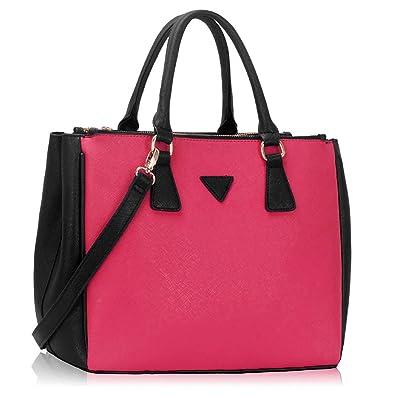 026d23fbdff46 Xardi London Black Pink Large Ladies Faux Leather Grab Tote Handbag  Designer Womens Shoulder Bag