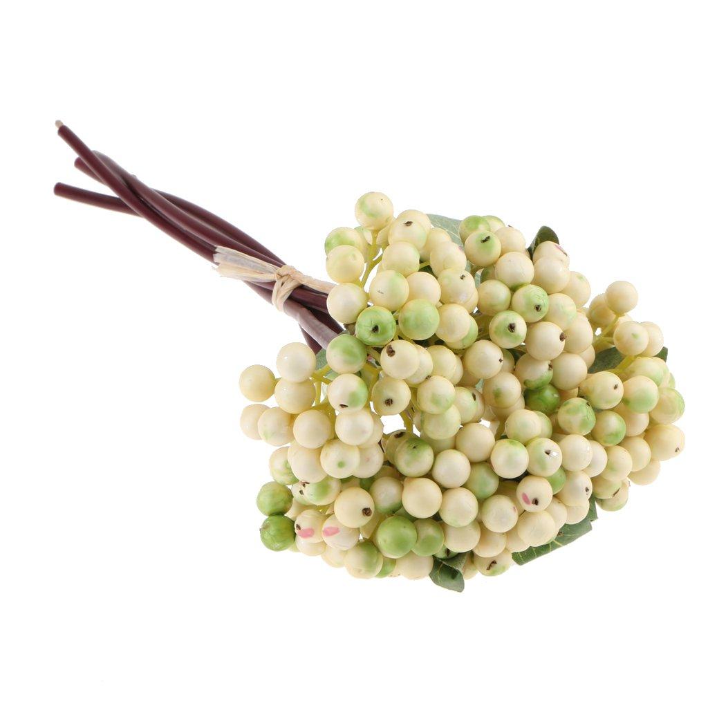 MagiDeal人工Fruits Berriesブッシュ植物ウェディング草原の花花柄装飾完璧なホームガーデン芝生屋外のテーブルトップ ホワイト 6b0414702547c0e6458a6de71af3dc12 B07DMYC271 ホワイト