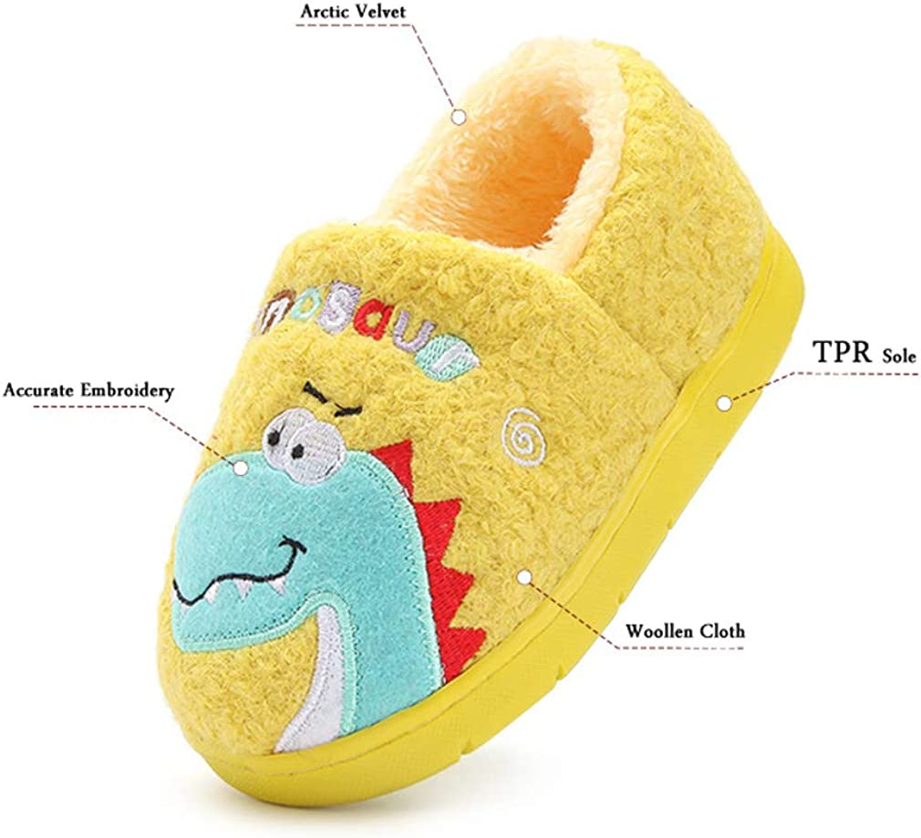 FCTREE Kids Dinosaur Slippers Toddler Boys Girls Warm House Slippers Baby Home Shoes