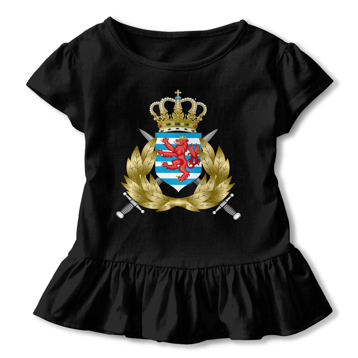 JVNSS Luxembourg Army Shirt Comfort Baby Girl Flounced T Shirts Clothes for 2-6T Kids Girls