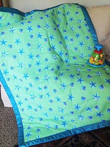 Starfish-Seashells-Shovels-Sand-Buckets-Green-Blue-White-Stripe-Crib-Quilt
