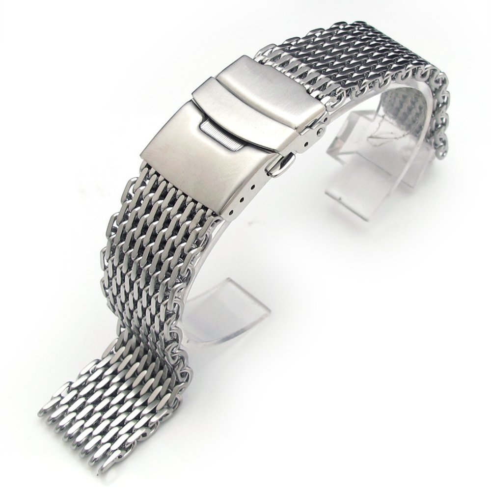 19mm Ploprof 316 Reform Stainless Steel ''SHARK'' Mesh Milanese Watch Band, Brushed, BB