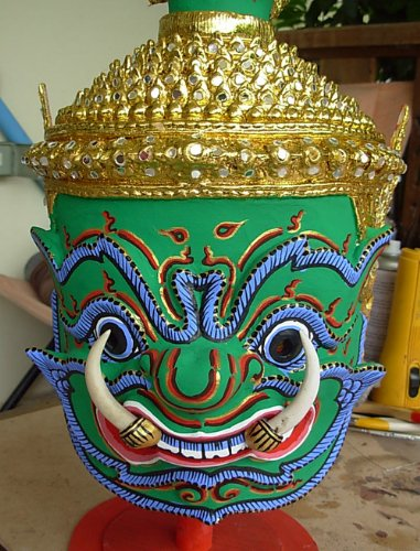[Thai Todsakhan Demon Mask Khone Dance Headdress Ramayana Crown Dancer Costume Free Shipping Made From] (Thai Dance Costume)