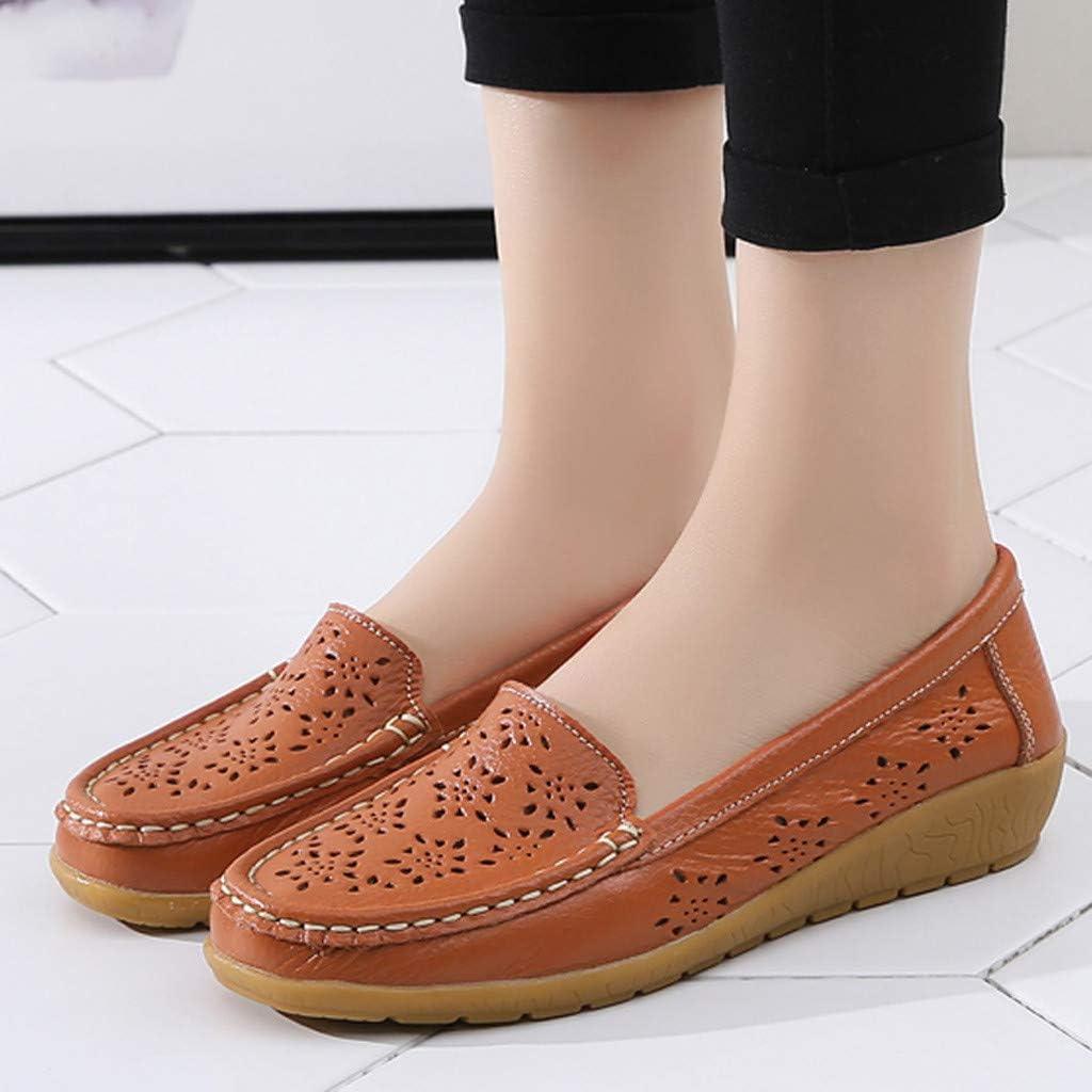 BaZhaHei Mocassins Femme /Ét/é Cuir Loafers Confortable Bateau Chaussures Plates Flocon de Neige Creux Casual Sandales Chaussures de Conduite