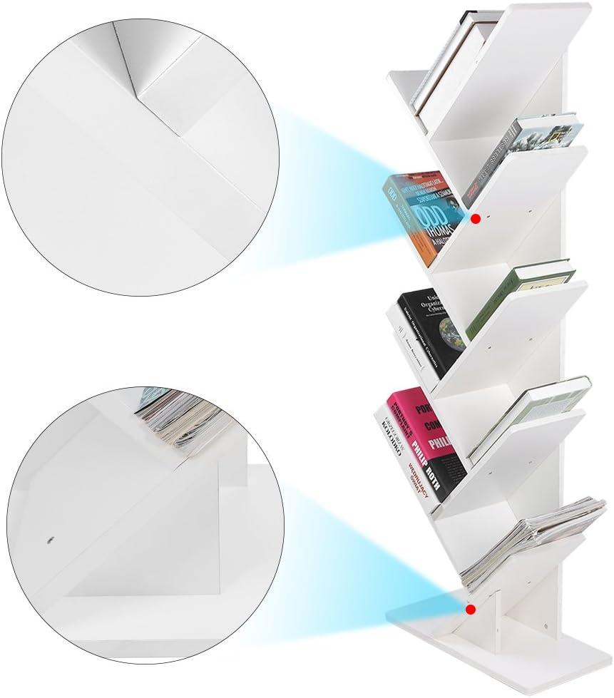 Yosooo 9-Shelf Tree Bookshelf, Modern Bookshelf Bookcase Book Rack Display Storage Organizer Shelving Furniture Rack Shelf Organization Cabinet – Bookshelves for CDs, Movies Books Holder White