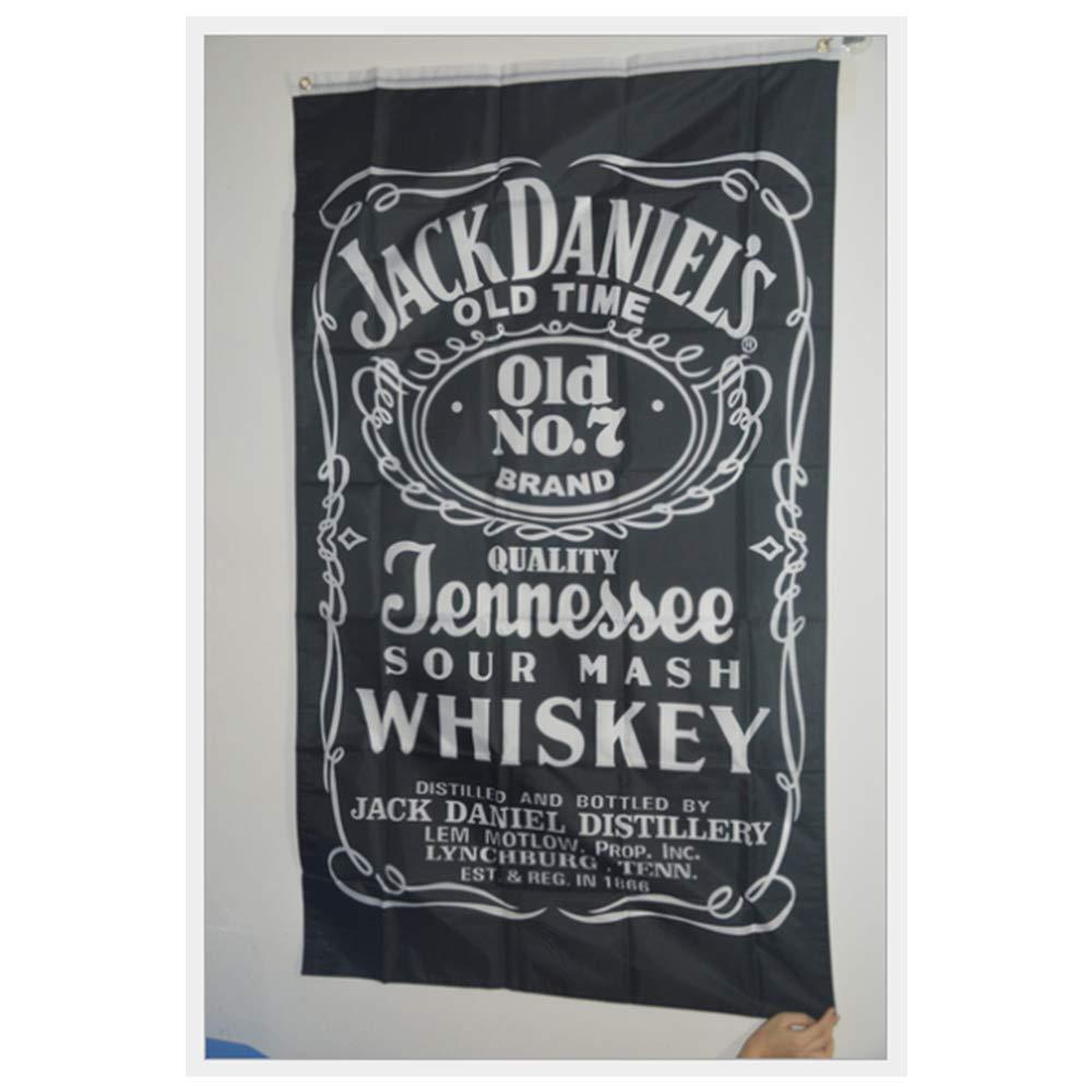 Jack Daniels Banner mit Hellen Farben und Fahnen UV Fading digital Bedruckt mit Metallringen f/ür im Freien oder Innenbereich Haushalt Dekoration NiceButy 3x5 ft