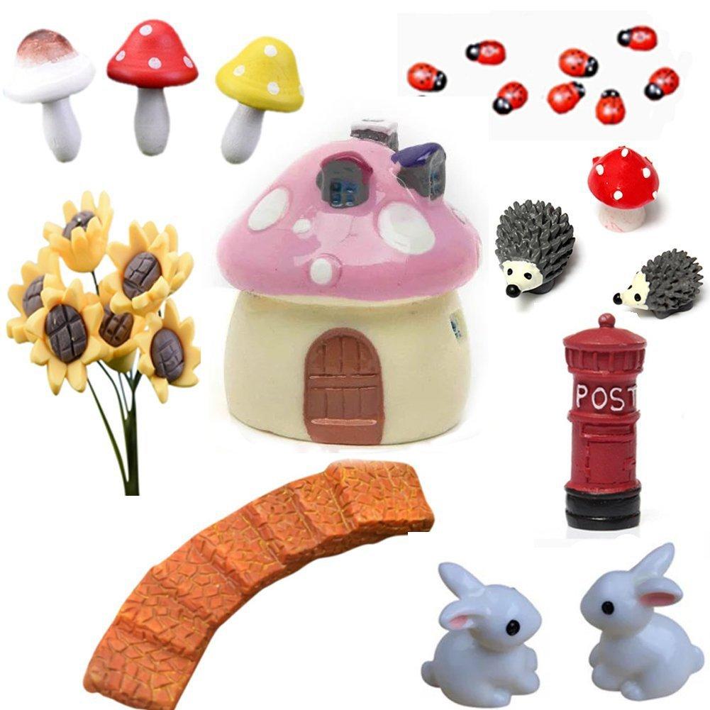 BESTIM INCUK 21-Piece Miniature Fairy Garden Ornament Dollhouse Plant Pot Figurine DIY Home Decoration
