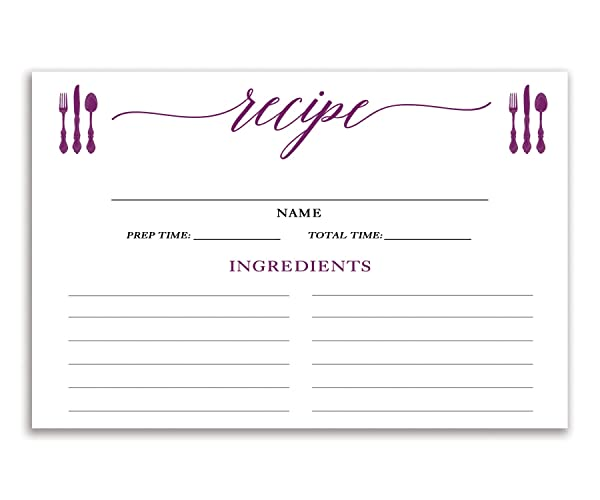 purple recipe cards set of 15 4x6 inches double sided thick card stock