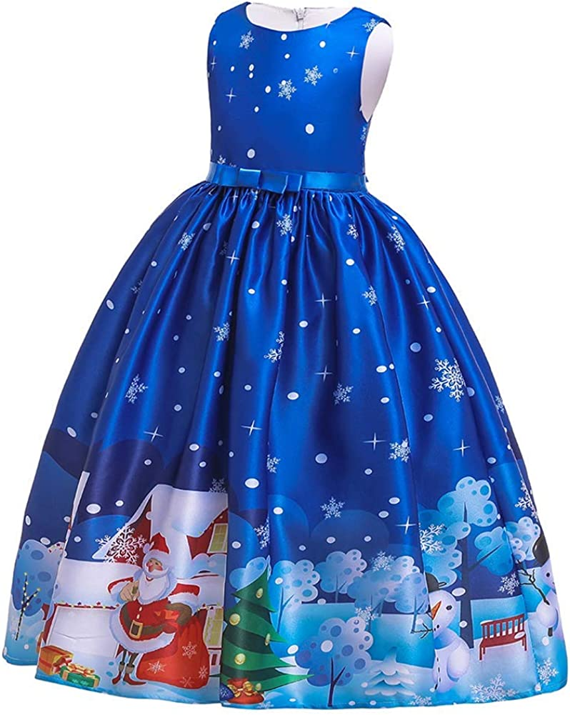OBEEII Girls Christmas Party Dress Xmas Gift Princess Evening Recital Maxi Gown